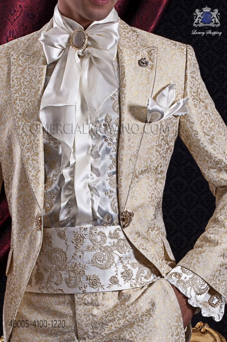 Ivory shirt with gold floral embroidery