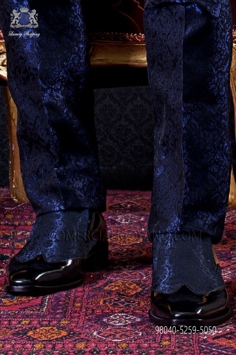 Combined baroque black shoes with blue jacquard
