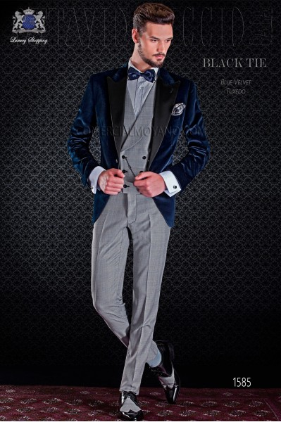 Blue groom tuxedo pants combined with Prince of Wales. Elegance and excellence in evening dress for men