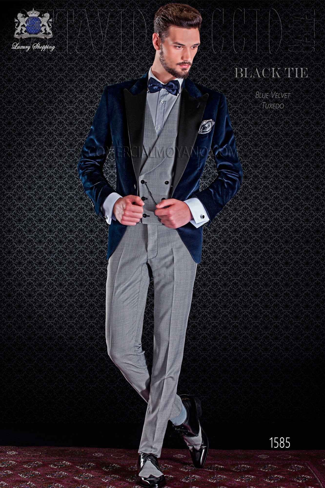 b1fa174e954 Peak lapels and 1 button. Fabric velvet 100% cotton. Blue groom tuxedo  pants combined with Prince of Wales. Elegance and excellence in evening  dress