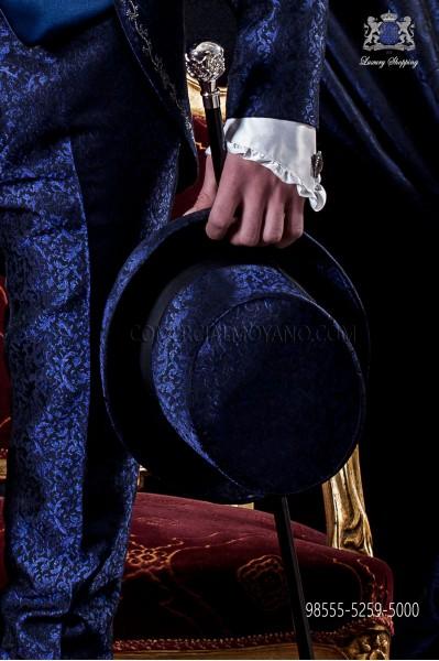 Blue jacquard top hat