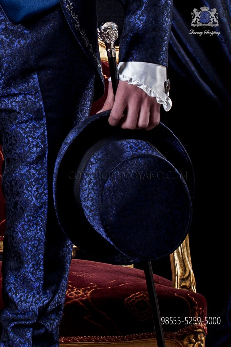 Blue jacquard top hat