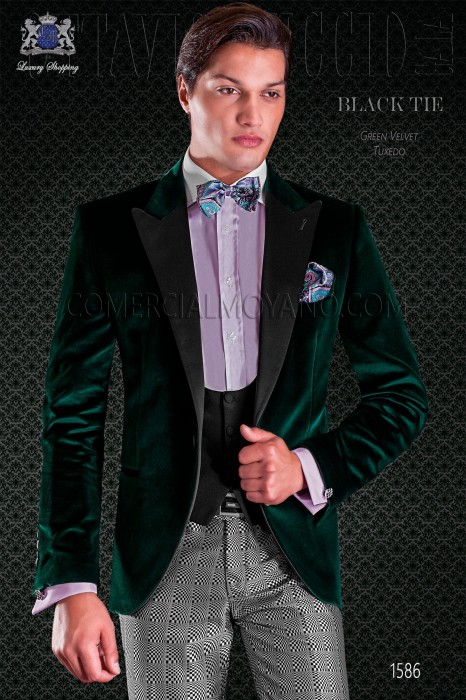 Green groom tuxedo pants combined with black-silver optical tissue. Elegance and excellence in evening dress