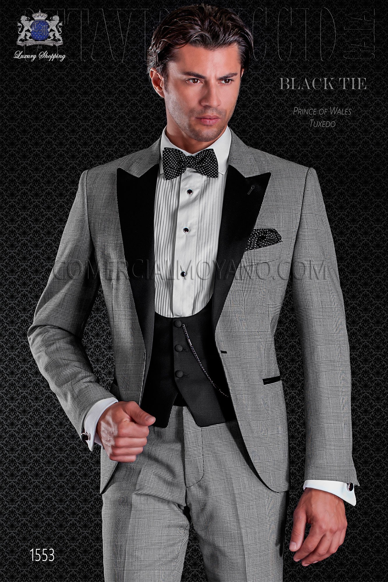 a0a8d1f55f2 Peak lapels and 1 button. Wool mix fabric. Italian prince of wales tuxedo.  Elegance and excellence in evening dress for men. Loading zoom