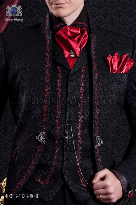Black shirt with red floral embroidery