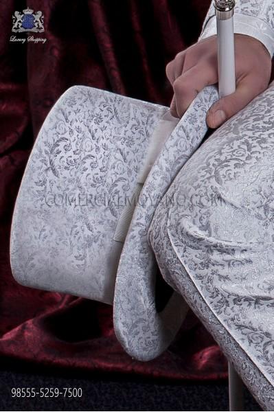 Sombrero de copa gris jacquard