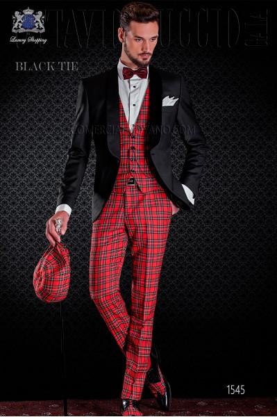 Esmoquin de novio combinado negro y tartán rojo. Elegancia y excelencia en el vestir de noche para caballeros