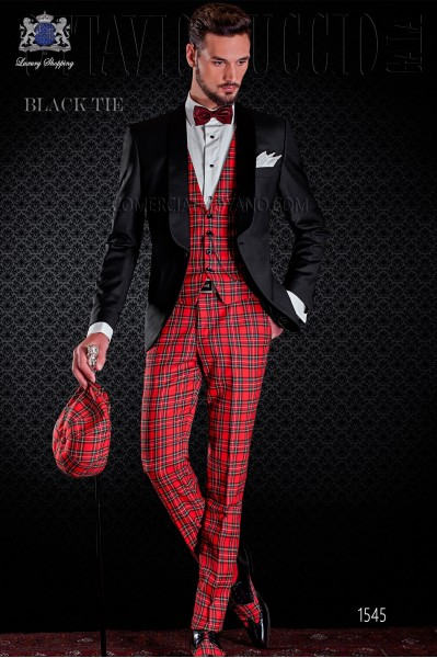 Tuxedo black and red tartan combined groom. Elegance and excellence in evening dress for men.