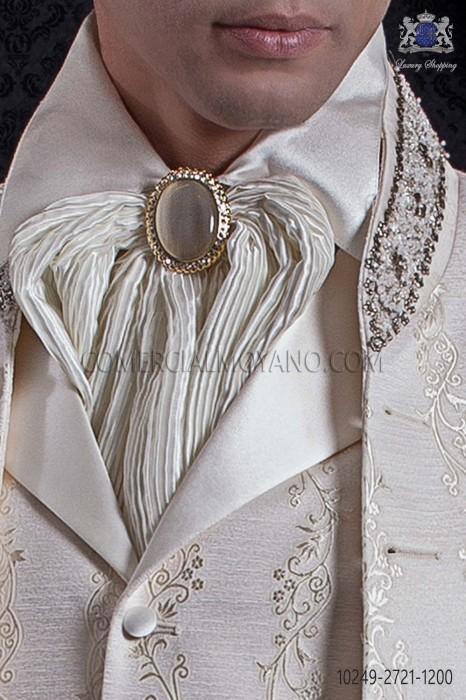 Gold lace plastron tie