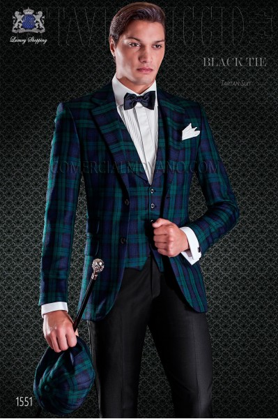 Italian blue and green tartan jacket with ticket pocket and 2 buttons. Black Watch tartan wool fabric.