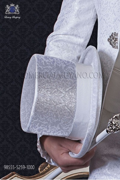 Sombrero de copa jacquard blanco