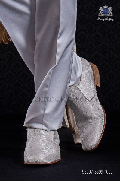 Zapatos slippers jacquard blanco
