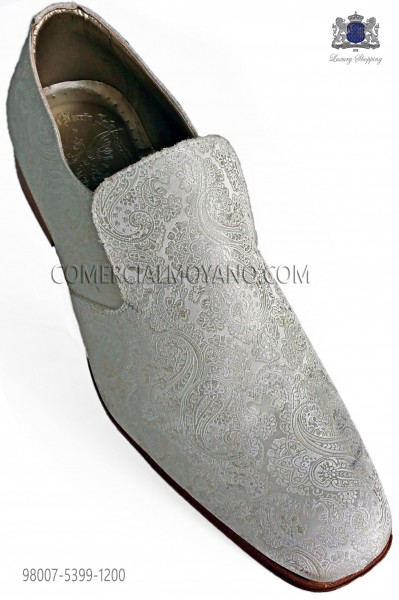 Slippers shoes ivory jacquard