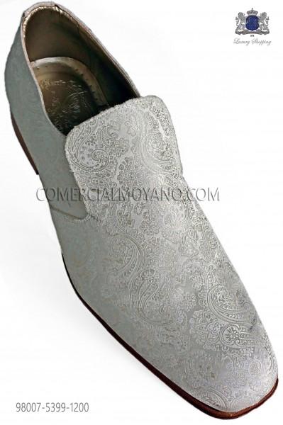 Zapatos slippers jacquard marfil