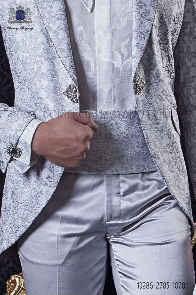 White satin sash with lace