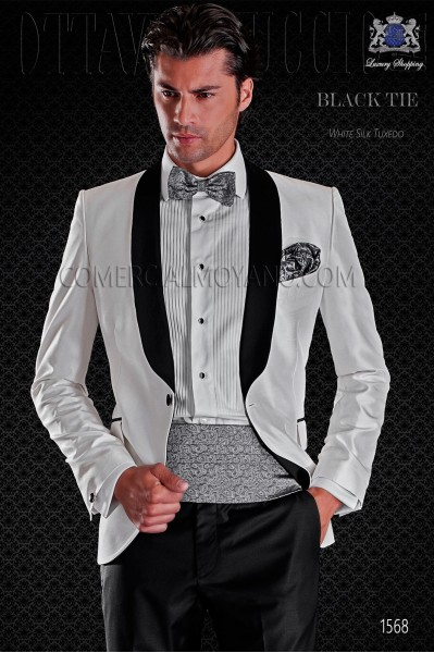 Italian tuxedo white shantung with satin lapels. Shawl collar and 1 button. Shantung silk mix fabric.