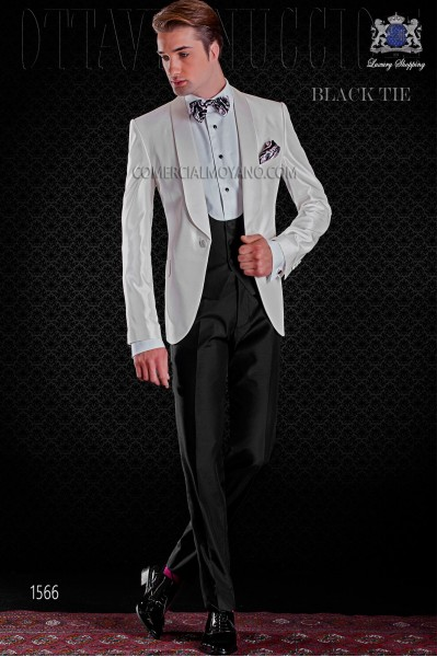 Italian tuxedo white shantung with shawl collar and 1 button. Shantung silk mix fabric.
