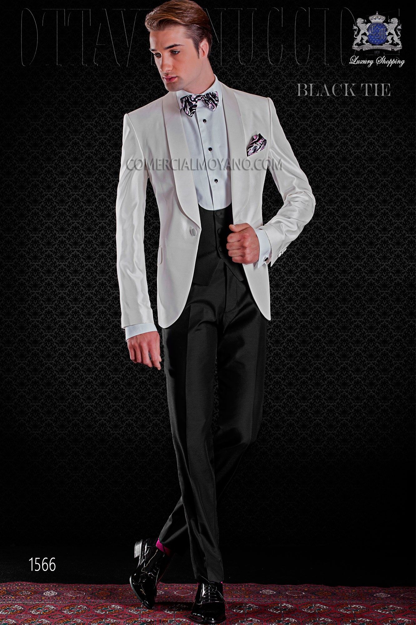 94b99975a6c Italian tuxedo white shantung with shawl collar and 1 button. Shantung silk  mix fabric. Loading zoom