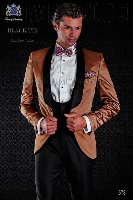 Italian golden tuxedo with satin lapels. Shawl collar and 1 button. Satin fabric.