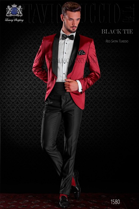 Italian red tuxedo with satin lapels. Shawl collar and 1 button. Satin fabric.