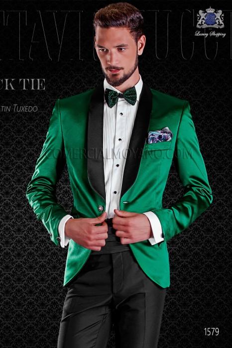 Italian Tuxedo Green Satin With Shawl Collar Ottavio