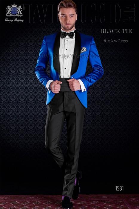 Italian royal blue tuxedo with satin lapels. Shawl collar and 1 button. Satin fabric.