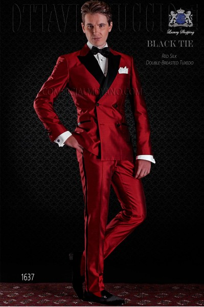 Tuxedo double breasted red shantung with satin lapels. Peak lapels and 4 buttons. Shantung silk mix fabric.