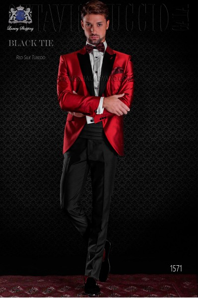 Tuxedo red shantung with satin lapels. Peak lapels and 1 button. Shantung silk mix fabric.