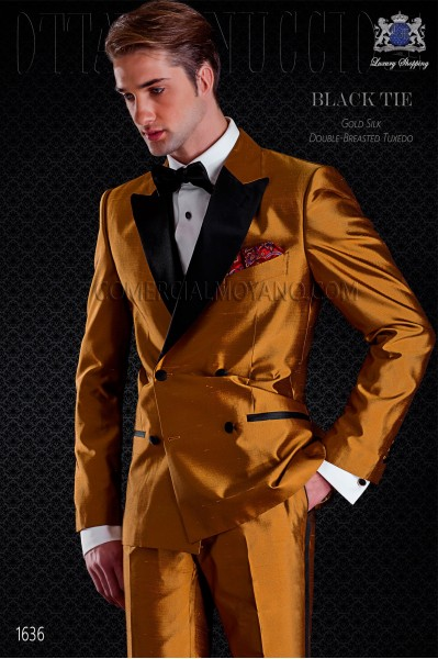 Tuxedo double breasted golden shantung with satin lapels. Peak lapels and 4 buttons. Shantung silk mix fabric.