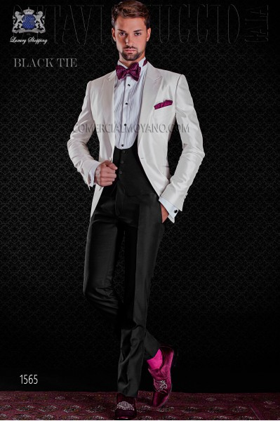 Italian white shantung tuxedo with peak lapels and 1 button. Shantung silk mix fabric.tton. Shantung silk mix fabric.