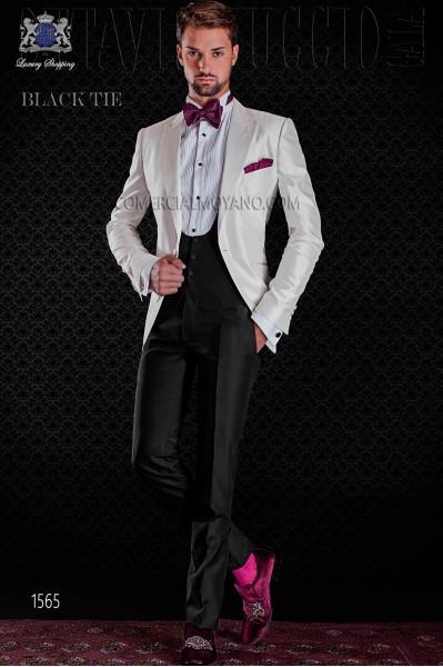 Italian white shantung tuxedo with peak lapels and 1 button. Shantung silk mix fabric.tton. Shantung silk mix fabric.
