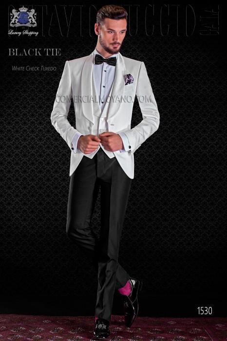 Italian white check tuxedo with shawl satin collar and 1 button.