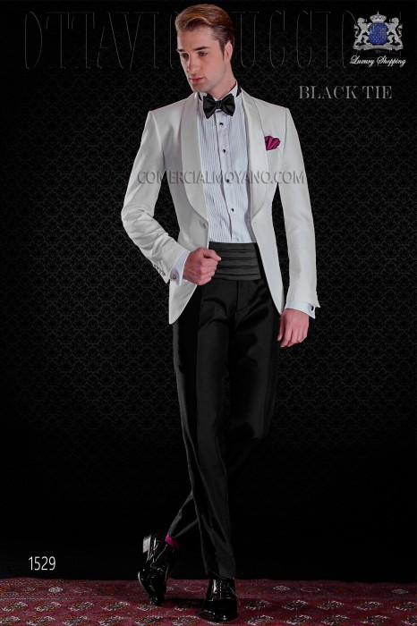 Italian white tuxedo with shawl satin collar and 1 button.