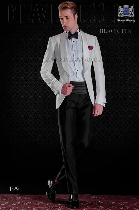 Italian white tuxedo with shawl satin collar and 1 button.