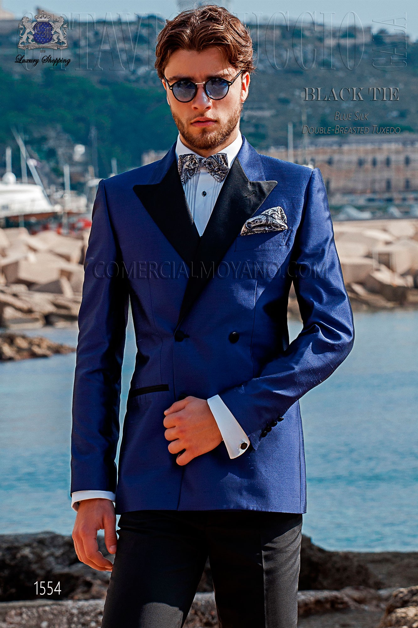 Italian double breasted royal blue shantung tuxedo Ottavio Nuccio Gala