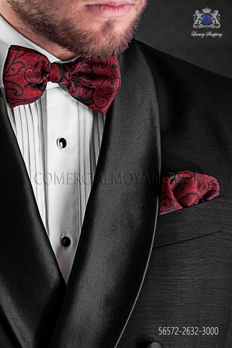 Red jacquard silk bow tie