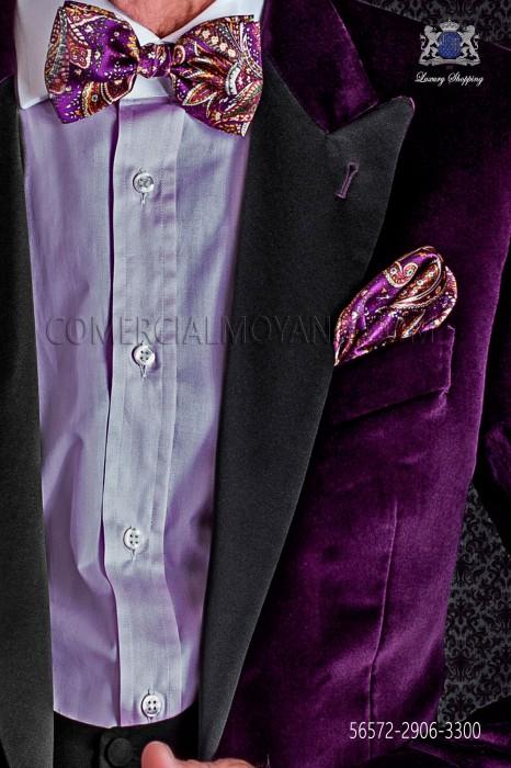 Paisley design silk bow tie and pocket handkerchief