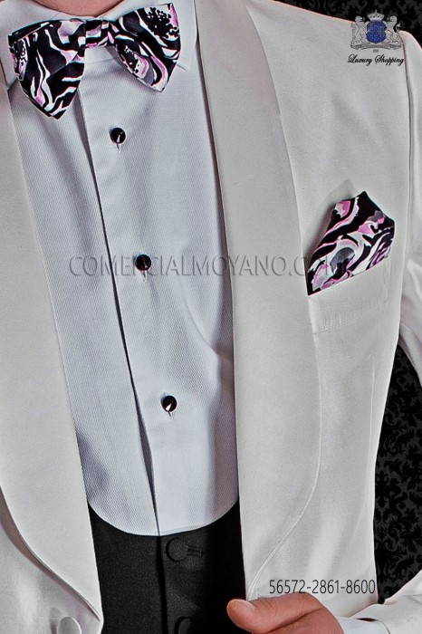 Patterned silk designer bow tie and handkerchief set