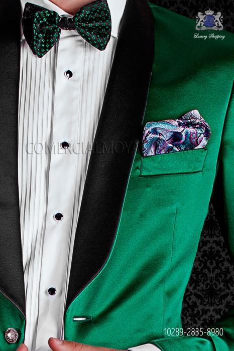 Bicolor black with micro-designs bow tie in pure jacquard silk