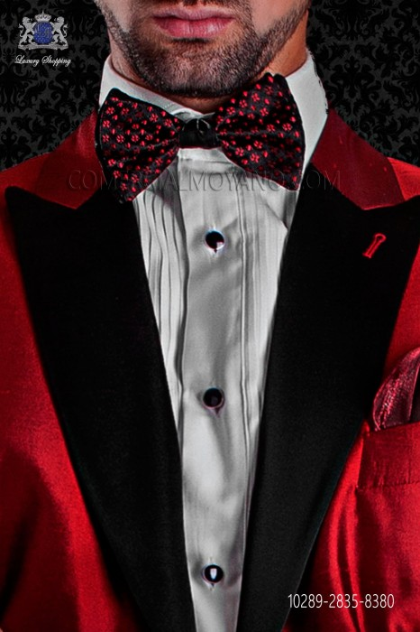 Bicolor black silk bow tie in with red micro-designs