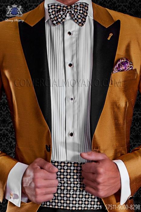 Black silk cummerbund and bow tie