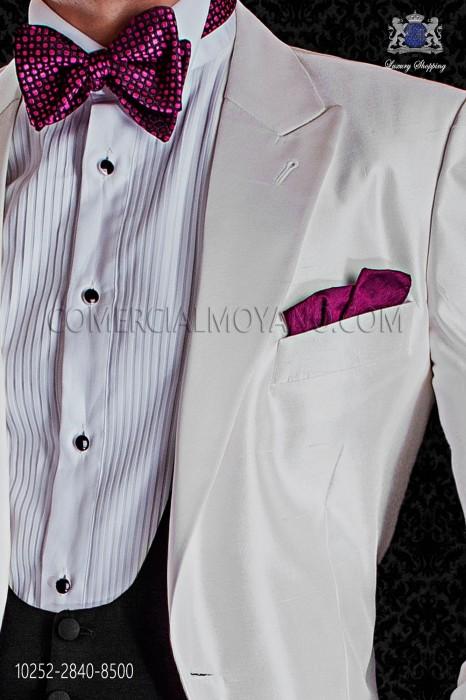 Black silk bow tie knot with fuchsia design