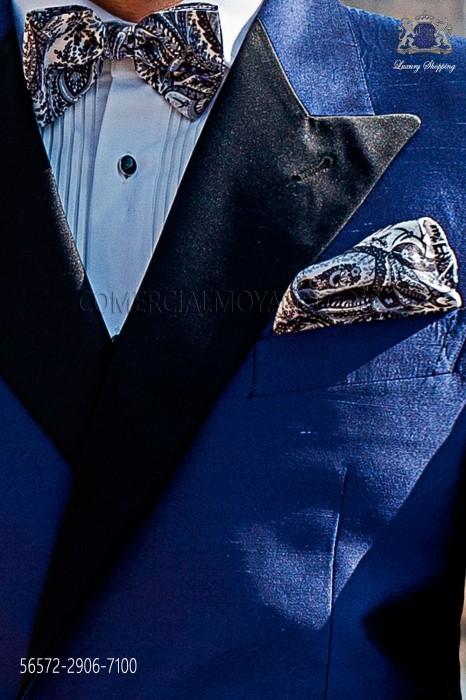 Printed silk bow tie and pocket handkerchief