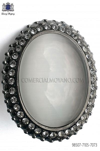 Gunmetal grey clasp with mother of pearl cameo 98507-7105-7073 Ottavio Nuccio Gala