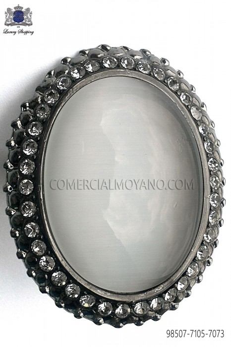 Gunmetal grey clasp with mother of pearl cameo 98507-7105-7073 Ottavio Nuccio Gala