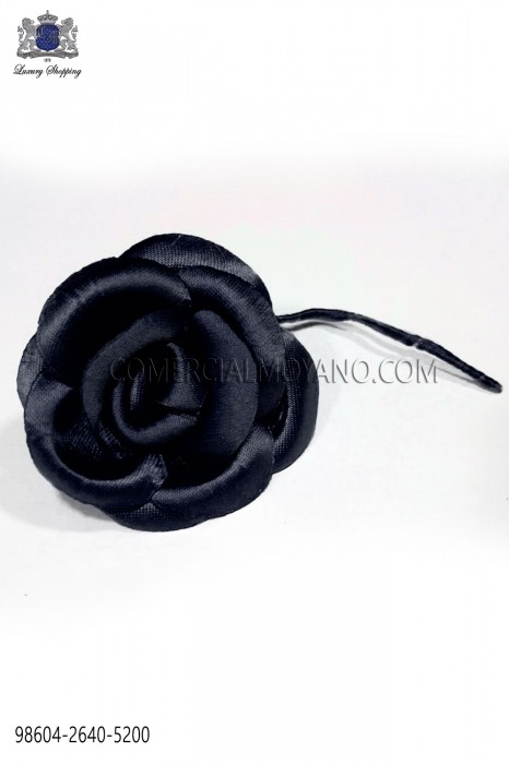 Dark navy blue satin flower 98604-2640-5200 Ottavio Nuccio Gala