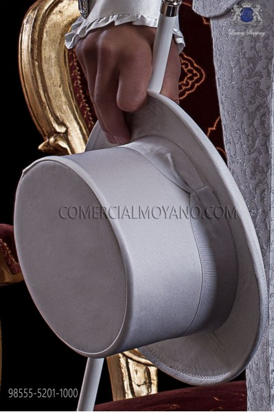 White satin top hat