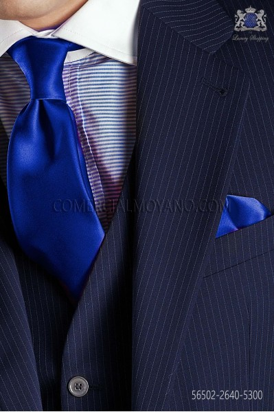 Electric blue satin tie and handkerchief