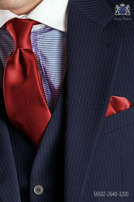 Red satin tie and handkerchief