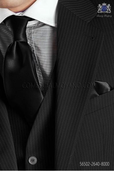 Black satin tie and handkerchief